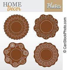 decorativo, marrom, jogo, illustration., floral., -, vetorial, desenho, 4, interior, pratos