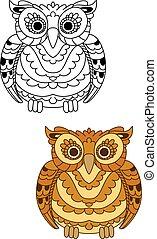 decorativo, marrom, penas, floresta, coruja