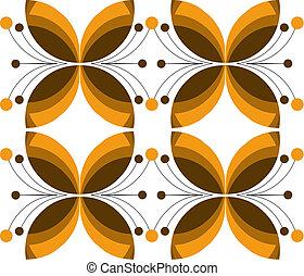 decorativo, marrone, fiore, struttura, vettore, illustrazione