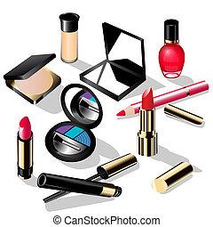 decorativo, matita, rossetto, occhi, illustrazione, chiodo,...