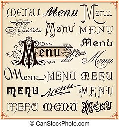 decorativo, menu, vindima, lettering