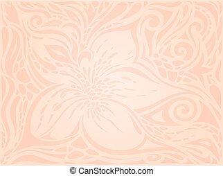 decorativo, moda, ecru, modello, carta da parati, fiori, vettore, disegno, vendemmia, floreale, matrimonio, pallido