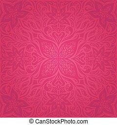 decorativo, moda, fiori, disegno, fondo, splendido, floreale, mandala, rosso
