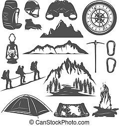 decorativo, montañismo, iconos, conjunto, montaña