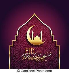 decorativo, mubarak, eid, plano de fondo, tipo