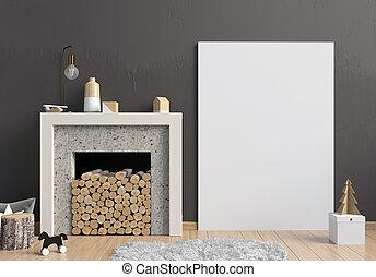 decorativo, natal, illustration., cartaz, modernos, cima, escandinavo, interior, lareira, style., escarneça, 3d