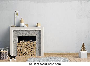 decorativo, natal, illustration., parede, modernos, cima, escandinavo, interior, lareira, style., escarneça, 3d