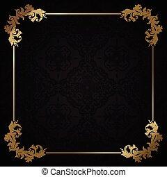 decorativo, negro, oro, plano de fondo