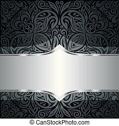 decorativo, nero, &, argento, floreale, lusso, carta da parati, fondo