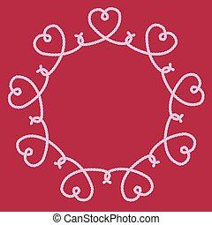 decorativo, nodi, fatto, cornice, corda, cuori