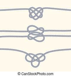 decorativo, nodi, profili di fodera, set, corda