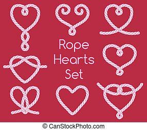 decorativo, nodi, set, corda, cuori