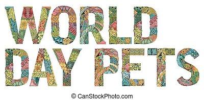 decorativo, oggetto, giorno, vettore, zentangle, mondo, pets...