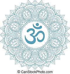 decorativo, ohmio, símbolo del om, ornament., aum, mandala, ...