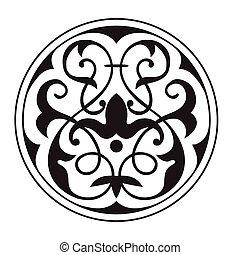 decorativo, oriental, zentangle, negro, blanco, mandala, ...