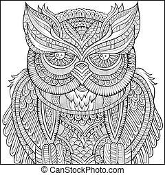 decorativo, ornamental, búho, fondo.