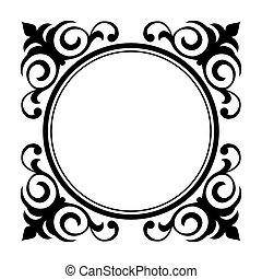 decorativo, ornamental, círculo, marco