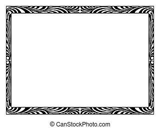 decorativo, ornamental, deco, arte, marco, negro