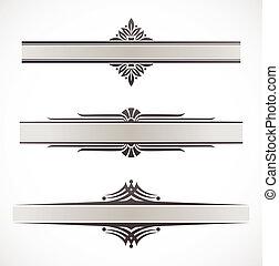 decorativo, ornamental, elementos, bordas, vetorial