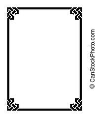 decorativo, ornamental, estilo, marco, romano, negro