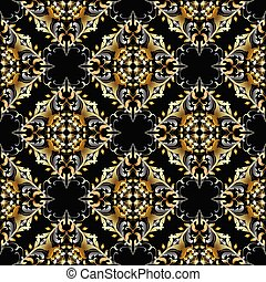 decorativo, ornamental, le, damasco, vindima, pattern., seamless, vetorial
