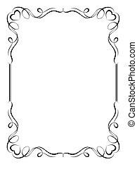 decorativo, ornamental, marco, caligrafía, corazón