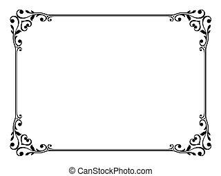 decorativo, ornamental, marco, caligrafía
