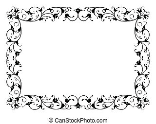 decorativo, ornamental, marco, negro, floral, oriental