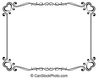 decorativo, ornamental, quadro, caligrafia, coração