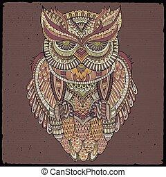 decorativo, ornamental, vector, owl., ilustración