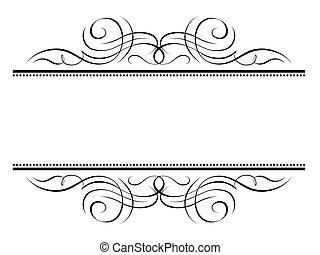 decorativo, ornamentale, cornice, vignette, calligrafia, calligrafia