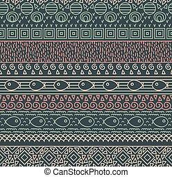 decorativo, ornamentale, modello, fish, seamless, tessile, vector., etnico, strisce, nativo
