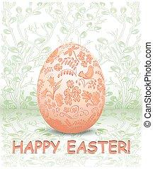 decorativo, ornamentale, uovo, -, vettore, sfondo verde, floreale, pasqua, scheda