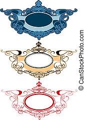 decorativo, ornamento, etichette