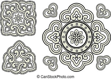 decorativo, ornamento, spirale