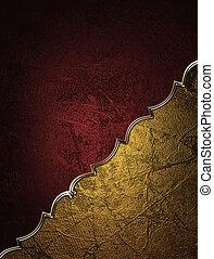 decorativo, oro, angle., disegno, fondo, template., rosso