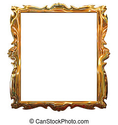 decorativo, oro cornice immagine, modello