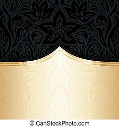 decorativo, oro, spazio, carta da parati, nero, lusso, invito, floreale, copia