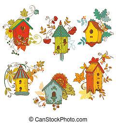 decorativo, otoño, ramas, con, birdhouses, -, para, álbum de...