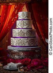 decorativo, ouro, e, roxo, indin, bolo casamento