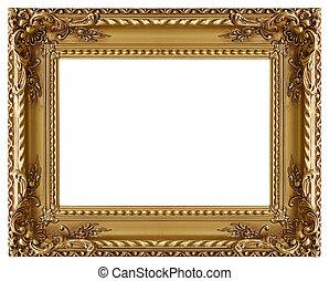 decorativo, ouro frame retrato, padrão