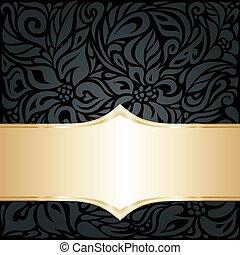 decorativo, ouro, &, papel parede, pretas, luxo, fundo, floral