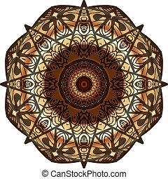 decorativo, ouro, quadro, com, vindima, redondo, padrões, branco