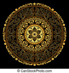 decorativo, ouro, vindima, quadro, padrões, pretas, redondo