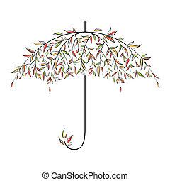 decorativo, outono, guarda-chuva
