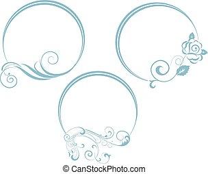 decorativo, oval, frame., rama