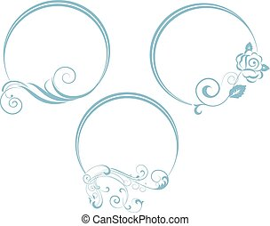 decorativo, ovale, frame., ramo