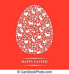 decorativo, ovo, Páscoa, vermelho, fundo