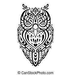 decorativo, owl., pattern., étnico