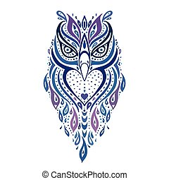 decorativo, owl., pattern., etnico